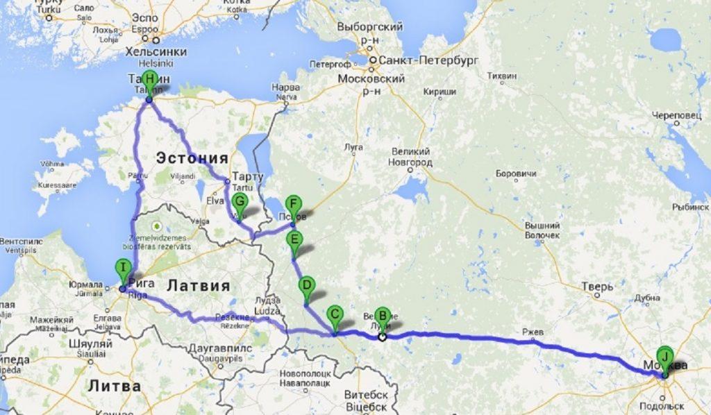 Маршрут поездки в Эстонию автостопом