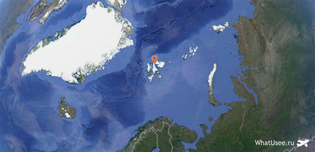 Архипелаг Шпицберген на карте