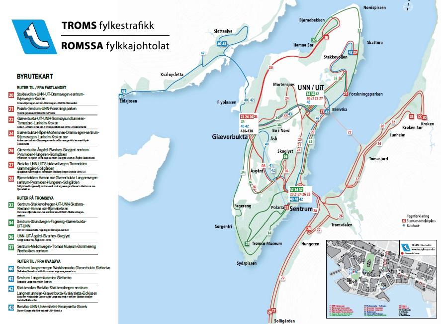 Схема движения автобусов в Тромсё