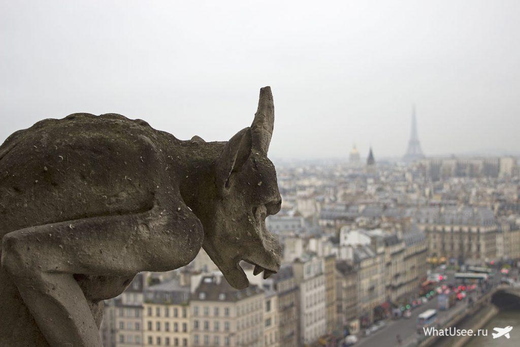 Химеры на соборе Парижской богоматери