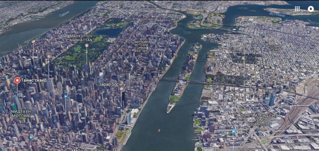Остров Рузвельта на карте Нью-Йорка