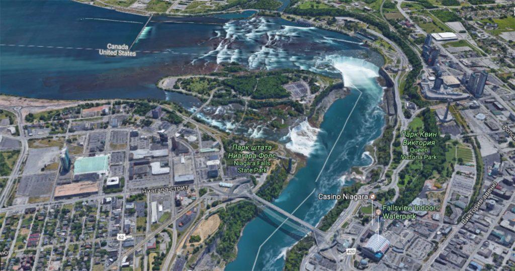 Ниагарский водопад на карте и граница между Канадой и США