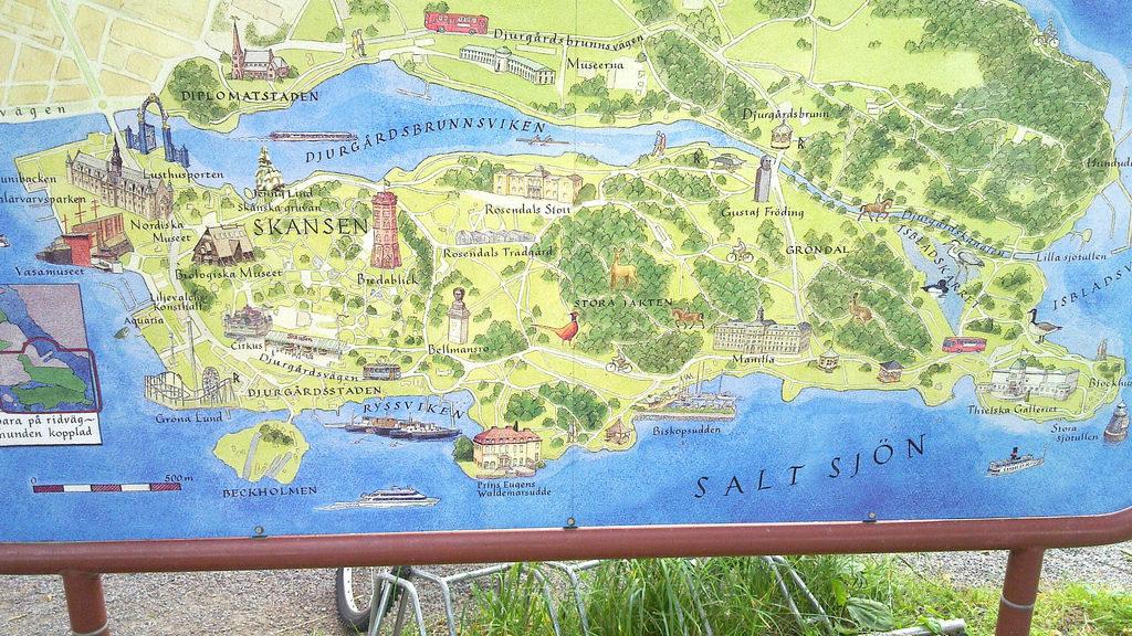 Карта Юргордена в Стокгольме