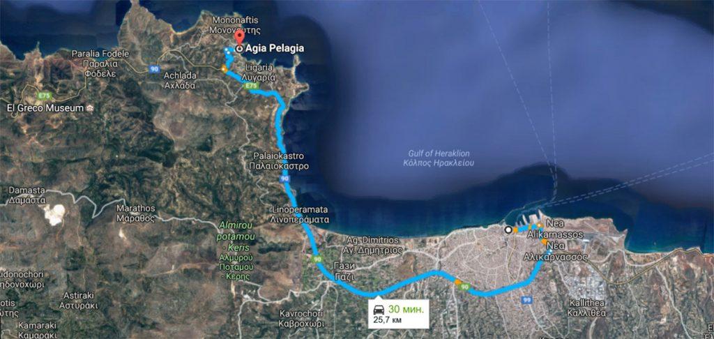Как самостоятельно добраться на автобусе из Ираклиона в Агию Пелагию