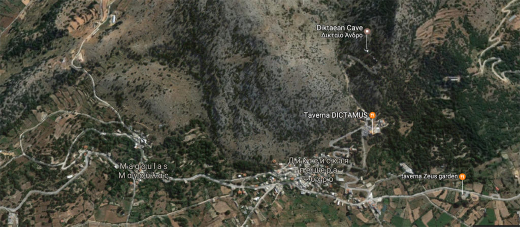 Пещера Зевса на карте Крита