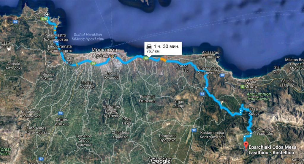 Самостоятельный маршрут из Ираклиона на плато Лассити к пещере Зевса