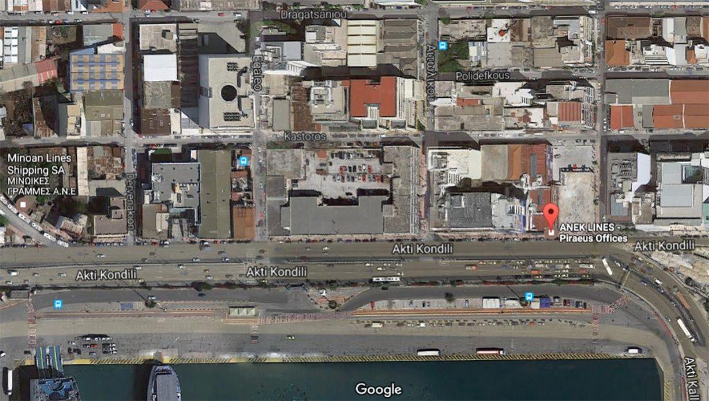 Офис ANEK Lines на карте в Пирее