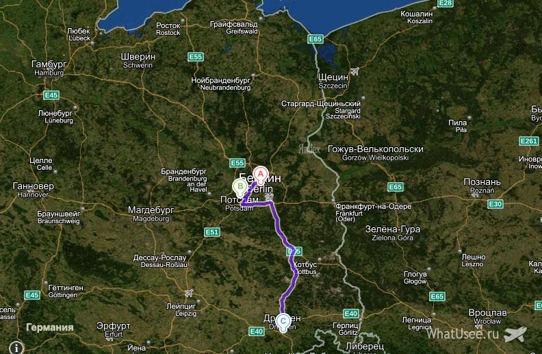 Карта маршрута Берлин - Потсдам - Дрезден