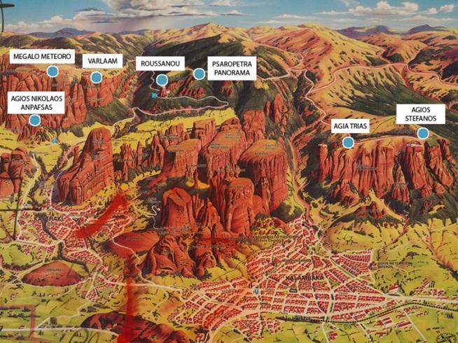 Монастыри Метеоры на карте
