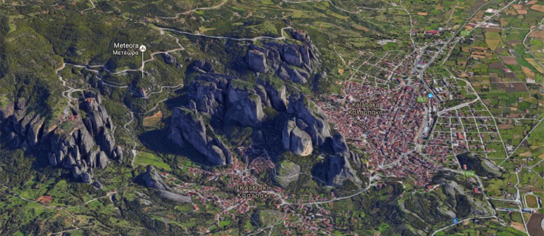 Деревни Каламбака и Кастраки на карте Греции