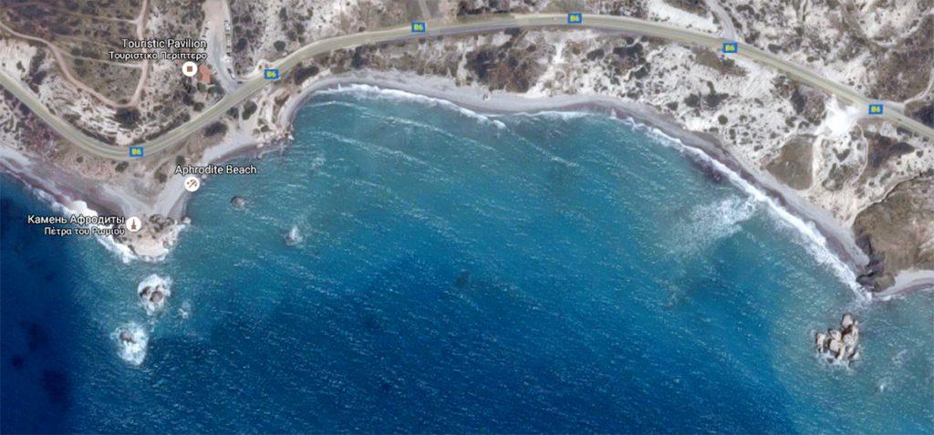 Камень Афродиты на карте Кипра