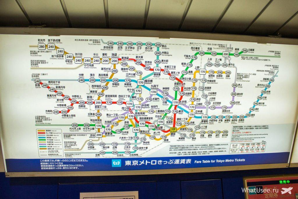 Схема метрополитена в Токио