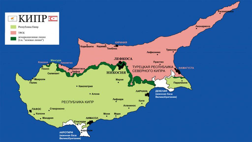 Карта Северного Кипра