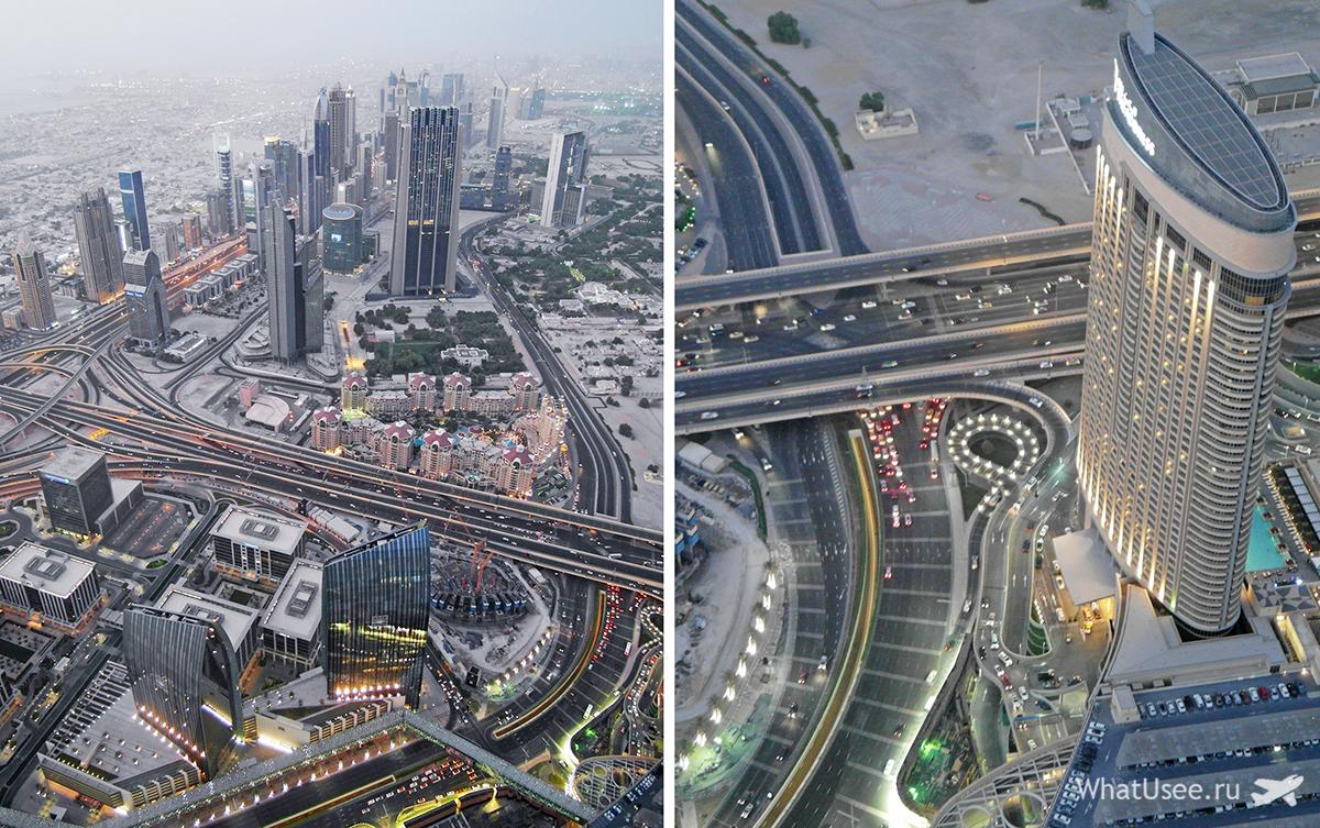 Вид на Дубай со смотровой площадки At the Top в небоскрёбе Бурдж-Халифа