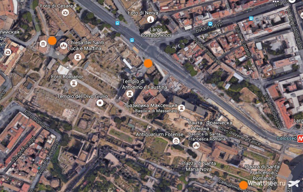 Карта Римского Форума
