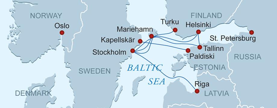 Карта паромных маршрутов по Прибалтике