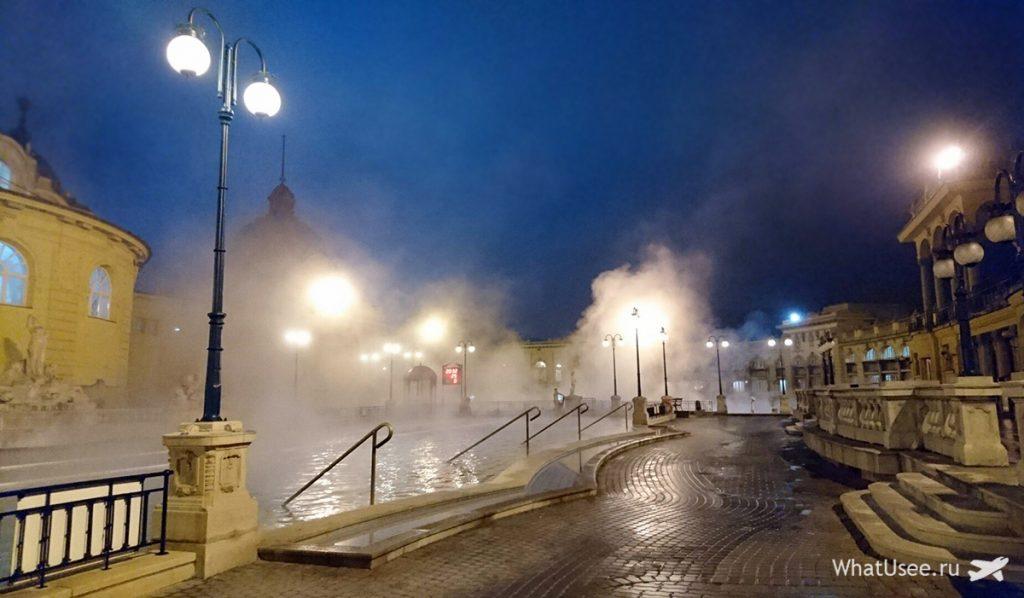 Купальни Сечени в Будапеште зимой