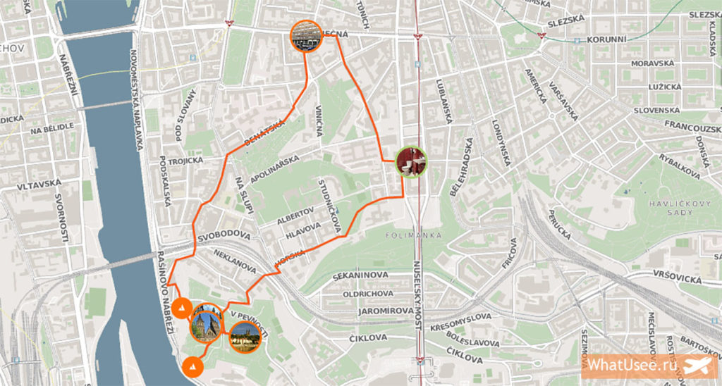 Маршрут прогулки к Вышеграду на карте Праги