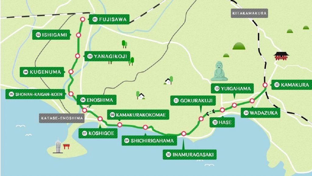 Железная дорога Эноден в Камакуре маршрут