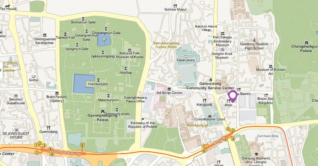 Дворец Кёнбоккун на карте Сеула