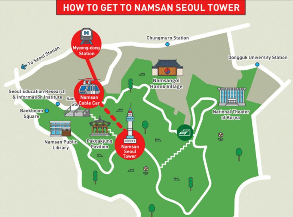 Карта горы Намсан в Сеуле