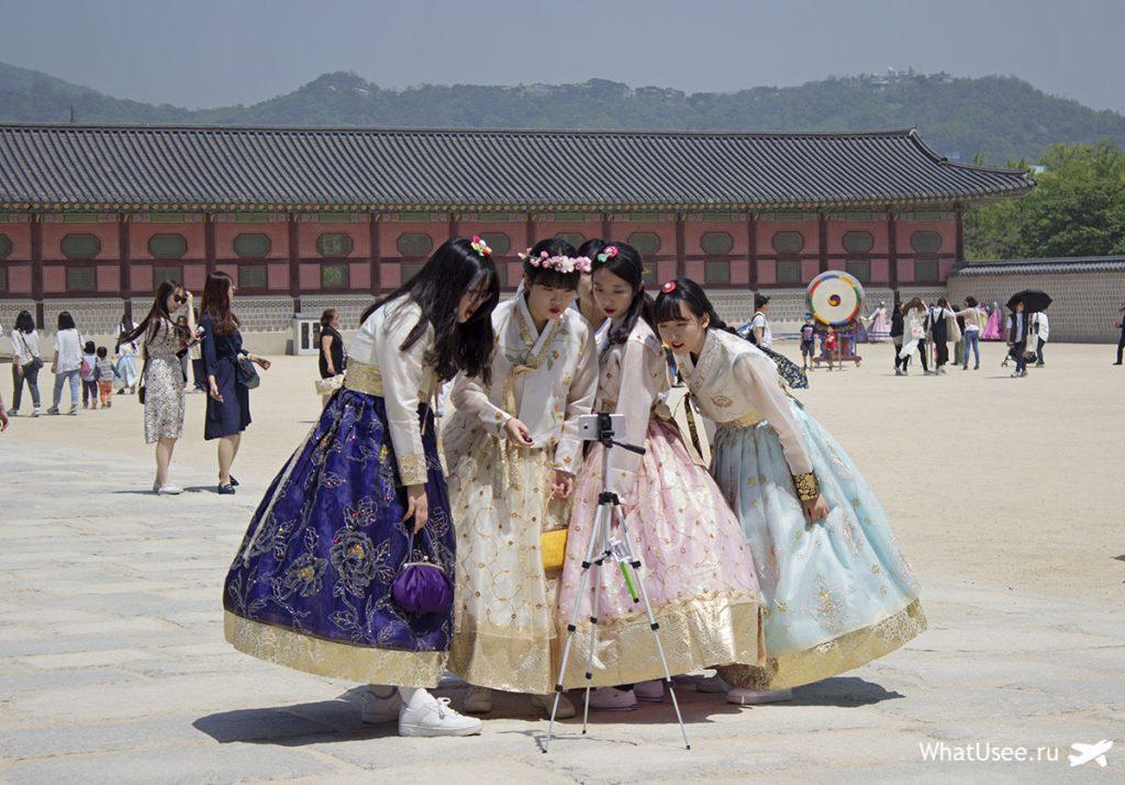 Кёнбоккун в Сеуле и ханбок