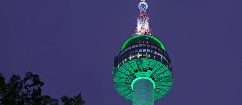 Сеульская башня N на горе Намсан в Южной Корее