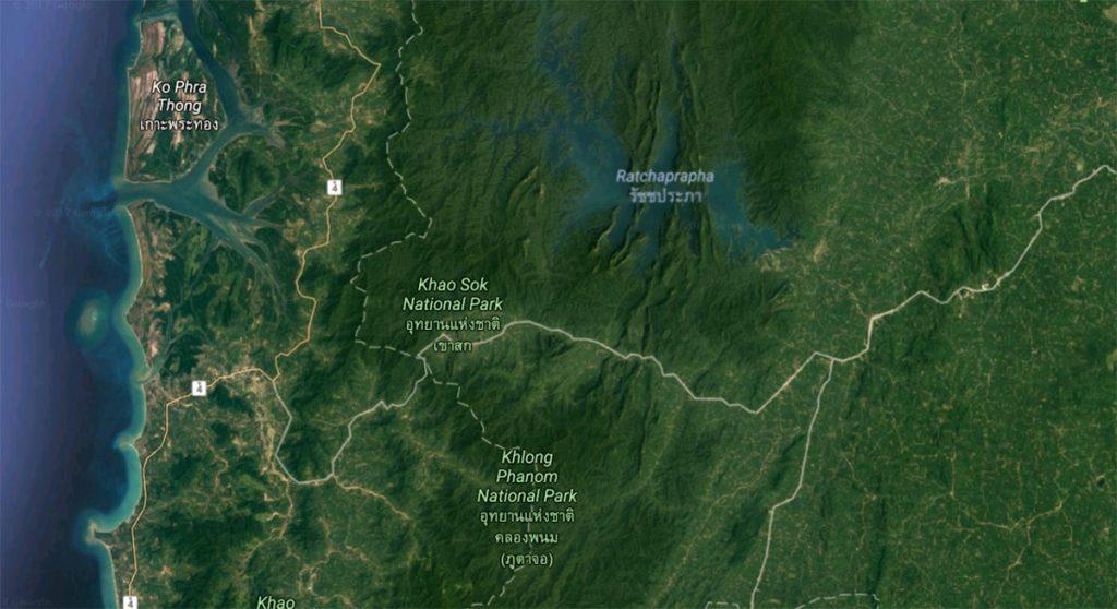 Национальный парк Као Сок на карте Таиланда