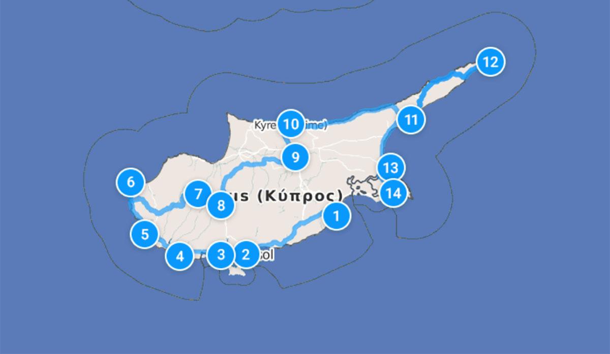 Самый полный маршрут по Кипру на автомобиле