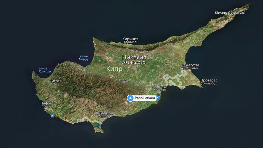 Деревня Лефкара на карте Кипра