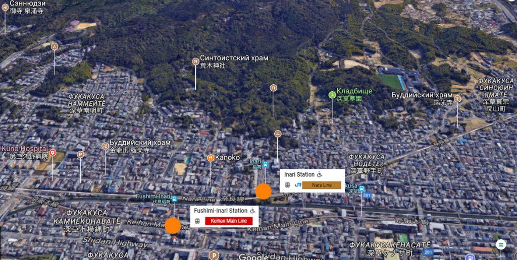 Фусими Инари на карте