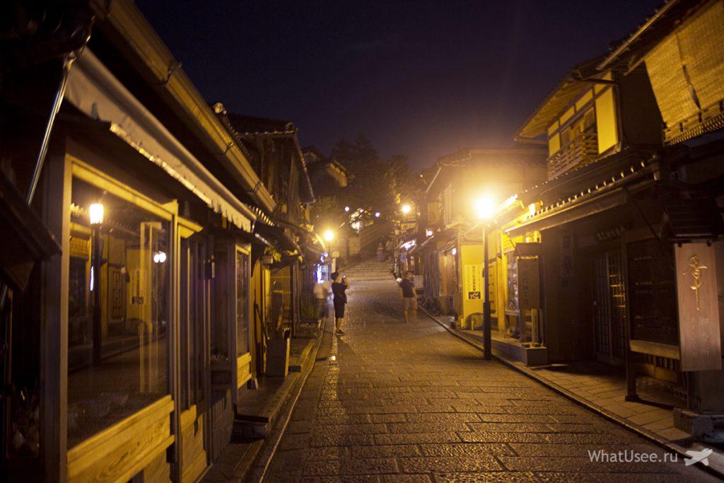 Квартал Гион в Киото ночью