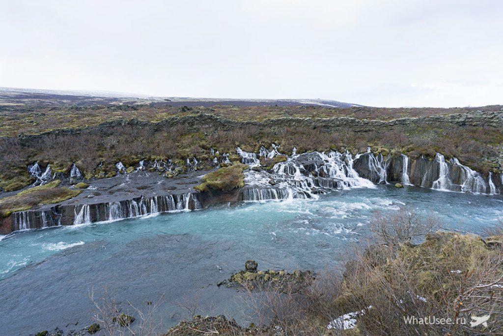 Водопад Хрёйнфоссар в Исландии