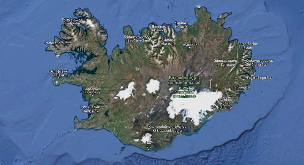 Ледник Ватнайёкюдль на карте Исландии