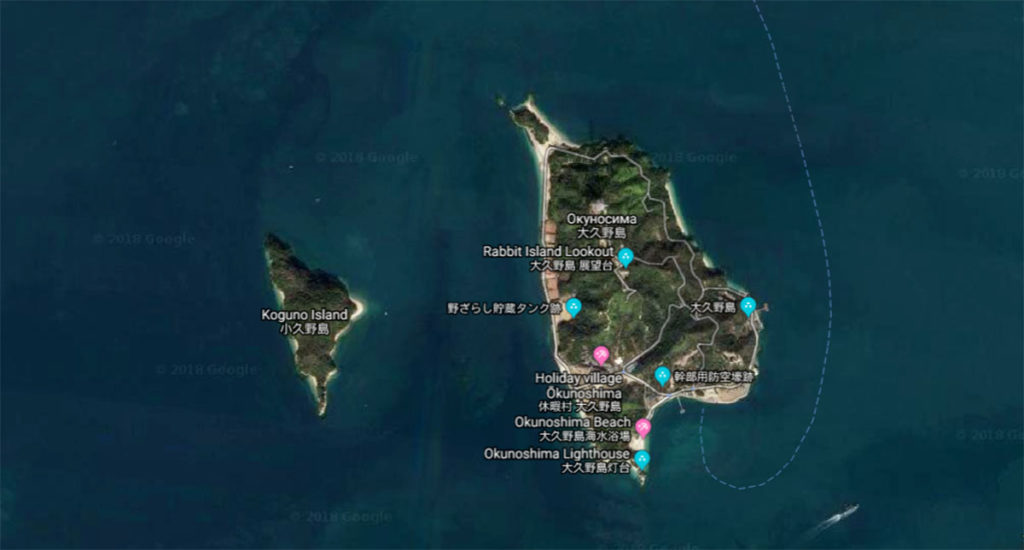 Карта острова Окуносима: